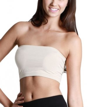 Women's Ivory Strapless Sports Bra Bandeau Tube Top new