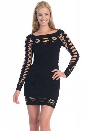 Women's Black Fishnet Dress Long Sleeve One Size made in U.S.A. New