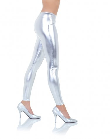 Women's Medium Silver Metallic Leggings Shiny Wet Vinyl Glossy New