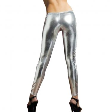 Women's Silver Shiny Liquid Leggings Small Wet Vinyl Glossy Spandex New