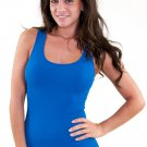 Women's Royal Blue Tank Top High Quality Sexy Full Back Tight Stretch new