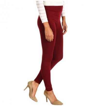 Women's Soft Burgundy Leggings Tights Yoga Pants Full length New