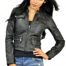 Women's Black Zip Up Motorcycle Jacket Small