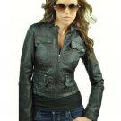 Women's Black Zip Up Motorcycle Jacket Medium