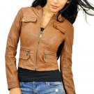 Women's Brown Zip Up Faux Leather Motorcycle Jacket Small