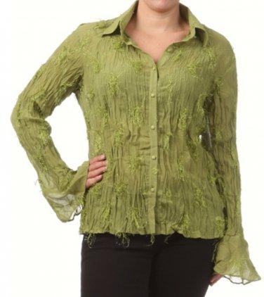 Women's Green Plus Size Blouse size 2XL