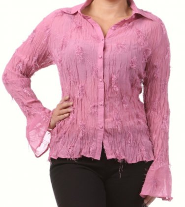 Women's Hot Pink Plus Size Blouse size 2XL