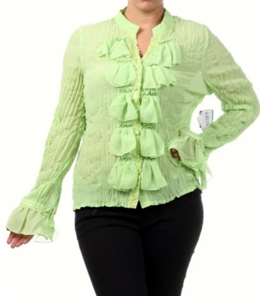 Women's Lime Green Plus Size Ruffled Slimming Blouse size 1XL