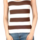 Brown Striped Tank Top Racer-back Seamless Ribbed Stretch new One Size