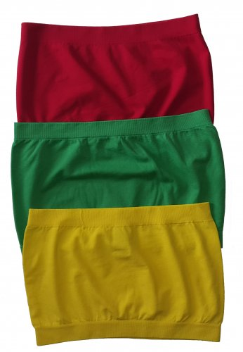 3 Pack Seamless Bandeau Top Nylon Spandex Red/Green/Yellow