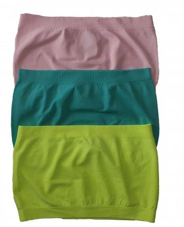 3 Pack Seamless Bandeau Top Nylon Spandex Pink/Blue Marine/Neon Yellow