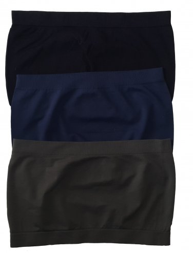 3 Pack Seamless Bandeau Top Nylon Spandex Black/Navy/Charcoal