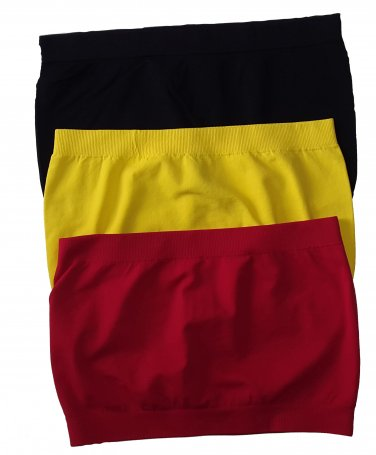 3 Pack Seamless Bandeau Top Nylon Spandex Black/Yellow/Red