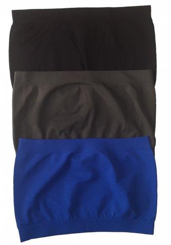 3 Pack Seamless Bandeau Top Nylon Spandex Black/Charcoal/Blue