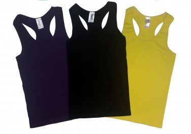 Pack of 3 Tank Tops Ribbed Racerback Nylon Spandex Black/Purple/Yellow
