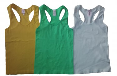 Pack of 3 Tank Tops Ribbed Racerback Nylon Spandex Neon Green/Yellow/White