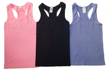 Pack of 3 Tank Tops Ribbed Racerback Nylon Spandex Lavender/Pink/Black
