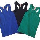 Pack of 3 Tank Tops Ribbed Racerback Nylon Spandex Black/Blue/Green