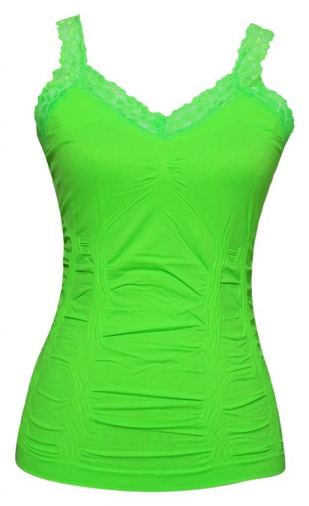 Womens Lace Trim Camisoles One Size Neon Green