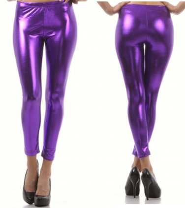 Shiny New Liquid Leggings Stretch Wet Vinyl Glossy Spandex Purple Large