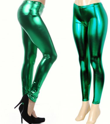 Women's Green Shiny Liquid Leggings  Wet Vinyl Glossy Spandex New Small