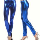 Women's Large Blue Shiny Metallic Leggings Stretch Wet Vinyl Glossy Spandex New