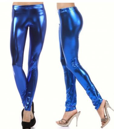 Women's Large Blue Shiny Metallic Leggings Stretch Wet Vinyl Glossy Spandex New