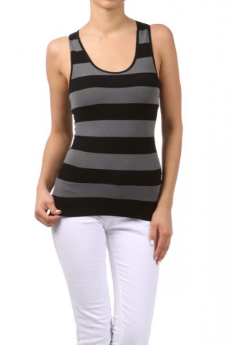 Women's Striped Black Tank Top New One Size