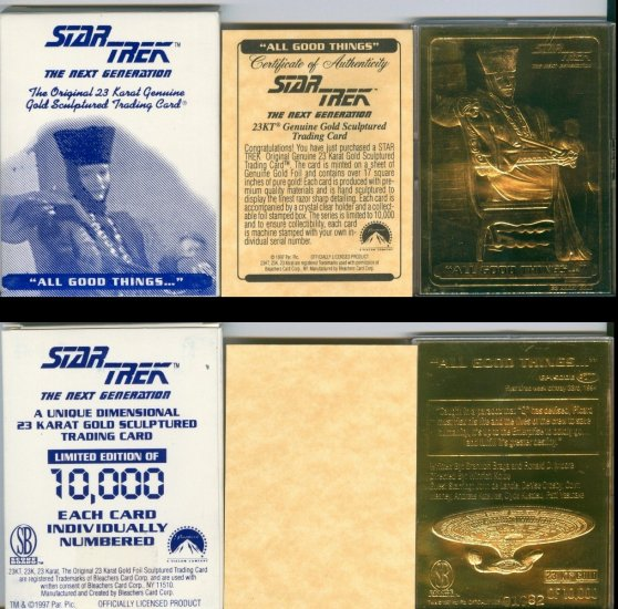 "Star Trek ""Q"" 23k Gold Trading Card LIMITED EDITION AND NUMBERED"