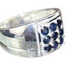 MTristaN Mens Sapphire and Pure Sterling Silver Ring