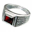 MTristaN Mens Art Deco Garnet and Pure Sterling Silver Ring
