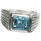 MTristaN Mens Art Deco Blue Topaz and Pure Sterling Silver Ring
