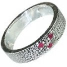 MTristaN Mens Textured Ring Ruby