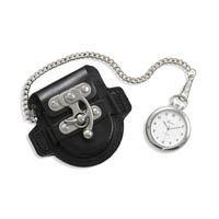 Men's Fashion Pocket Watch with Black Leather Case