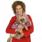 (sz SM)Pink/Wht - Matching Dog Sweater and Owner Scarf Set