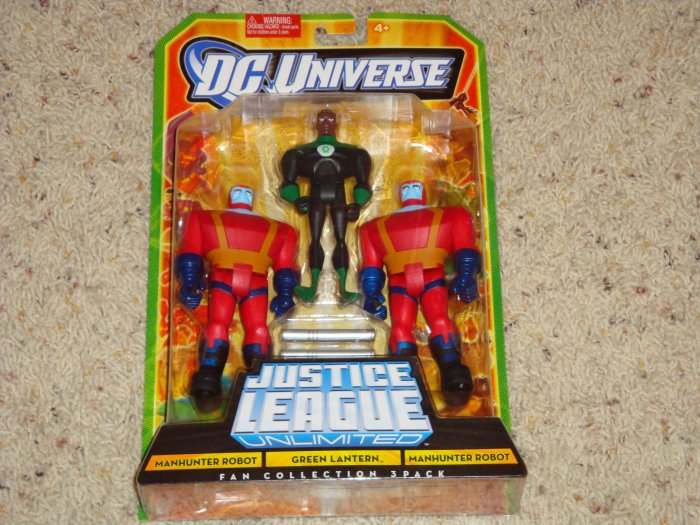 Justice League Unlimited Green Lantern and Manhunter Robot Fan Collection 3 Pack