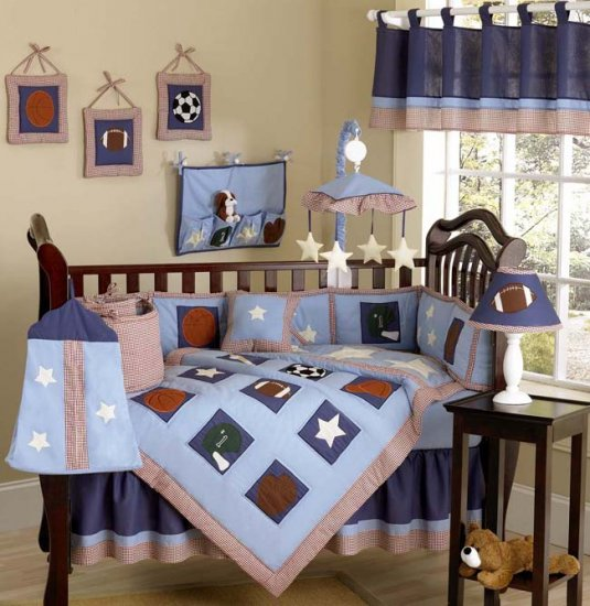 NEW SPORTS INFANT NURSERY BABY BOY BEDDING 9pc CRIB SET