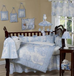 French Blue Toile Baby Infant Crib Nursery Bedding Set