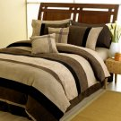 6 PC MICROSUEDE QUEEN DUVET COMFORTER COVER BEDDING SET