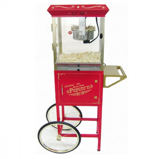 NEW ANTIQUE STYLE POPCORN POPPER MACHINE MAKER & CART