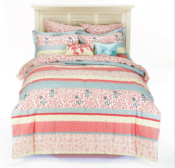 NEW Paisley Coral Textured Mini Bed Set - FULL SIZE