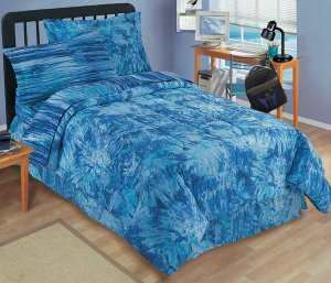 NEW Tie Dye Bright BLUE Bedding Mini BED Set - TWIN