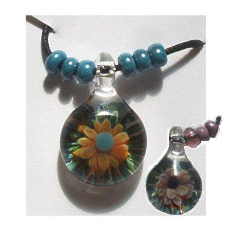 Handblown Floral Glass Bead on Adjustable Cord