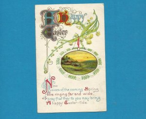 VINTAGE IOWA 1908 HAPPY EASTER POSTCARD WITH ONE CENT UNITED STATES STAMP