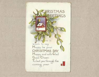 COLORADO SPRINGS 100 YEAR OLD CHRISTMAS GEETINGS  POSTCARD WITH ONE CENT STAMP