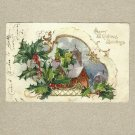 VINTAGE 1906 MERRY CHRISTMAS POSTCARD WITH ONE CENT UNITED STATES STAMP
