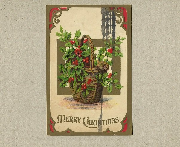 VINTAGE 1909 EMBOSSED CHRISTMAS POSTCARD WITH ONE CENT UNITED STATES STAMP