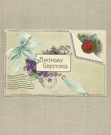 VINTAGE EMBOSSED BIRTHDAY GREETINGS ONE CENT POSTAGE UNITED STATES POSTCARD