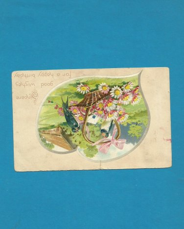 VINTAGE 1908 FLOWER BASKET HAPPY BIRTHDAY POSTCARD WITH ONE CENT UNITED STATES STAMP