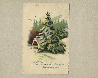 HUNGARY 1932 VINTAGE CHRISTMAS NEW YEAR POSTCARD WITH HOLY CROWN OF HUNGARY STAMP